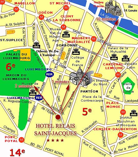 plan et acc s hotel relais saint jacques paris proche du quartier latin rive gauche. Black Bedroom Furniture Sets. Home Design Ideas